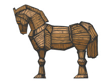 Trojan Horse Color Sketch Engraving Vector Illustration. Horse Wooden Figure. Scratch Board Style Imitation. Hand Drawn Image.