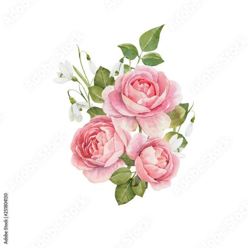 Fotografia Watercolor rose vector omposition