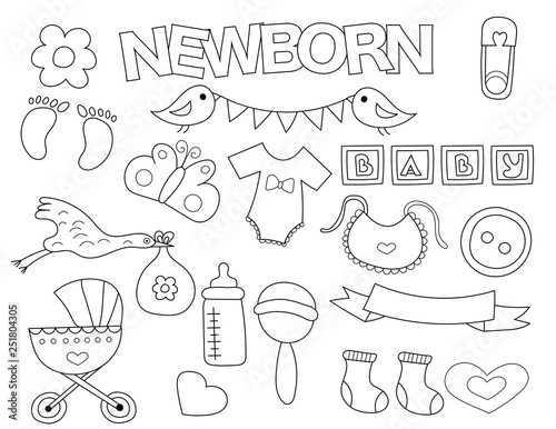Newborn Set Of Icons And Objects Hand Drawn Doodle Baby Shower Design Concept Black And White Outline Coloring Page Game Monochrome Line Art Vector Illustration Buy This Stock Vector And Explore