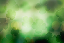 St. Patrick's Day Abstract Green Shamrock Background For Design
