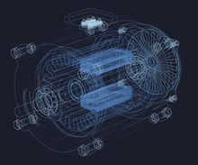 Wireframe Of The Motor. Intern...