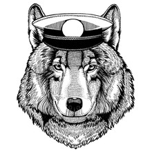 Wolf Hand Drawn Image For Tattoo, Emblem, Badge, Logo, Patch, T-shirt