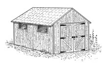Garden Wooden Shed - Old Style, Rustic, Vintage Country Building. Hand Drawn Illustration On White Background.