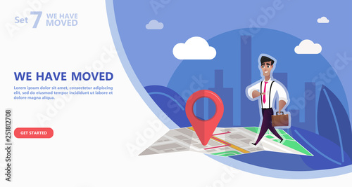 We have moved vector illustration concept Canvas Print