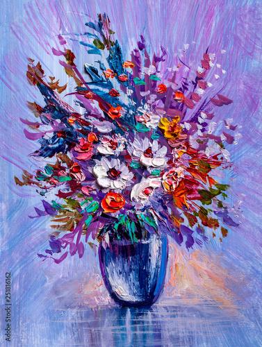 Obraz Dzikie kwiaty w wazonie - obraz malowany na płótnie - fototapety do salonu