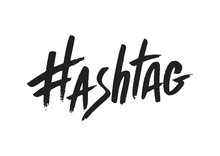 Hashtag Signs. Number Sign, Hash, Or Pound Sign. Seamless Pattern Of Hand Painted Symbols Isolated On A White Background. Vector Illustration
