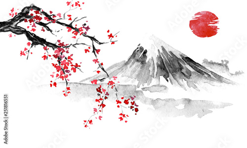 Japan traditional sumi-e pa...