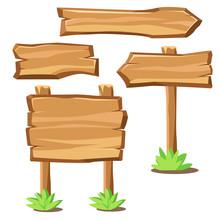 Cartoon Wooden Boards As Banne...