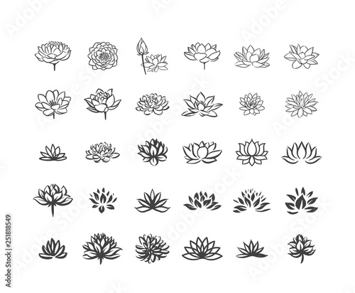 Vector illustration concept of Abstract vector lotus flower symbol icon on white Tableau sur Toile