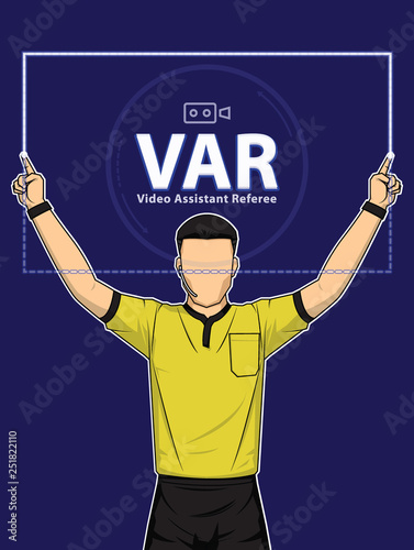 Football Referee Shows Video Assistant Referees Action