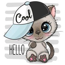 Cartoon Kitten With A Blue Cap...