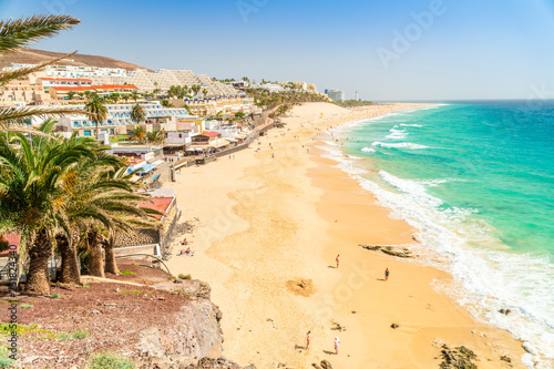 Beautiful, wide sandy beach in Morro Jable, Fuerteventura, Spain Fototapeta