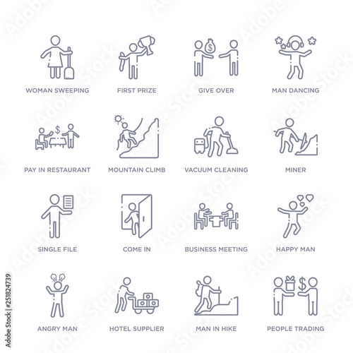 set of 16 thin linear icons such as people trading, man in hike