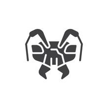 Emmet Head Vector Icon. Filled...