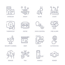 Set Of 16 Thin Linear Icons Such As Power, Handle, Fan, Sensor, Automation, Leak, Deep From Smart House Collection On White Background, Outline Sign Icons Or Symbols