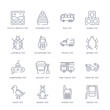 set of 16 thin linear icons such as swing toy, phone toy, bunny toy, duck ride on fire truck bucket toy from toys collection on white background, outline sign icons or symbols