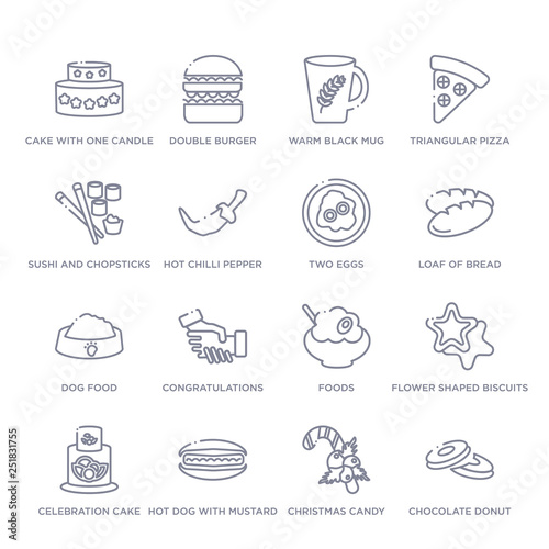 set of 16 thin linear icons such as chocolate donut