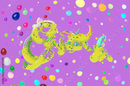 Fotografie, Obraz  Happy Easter background word made by green caramel decorated by colorful eggs, water splash around it