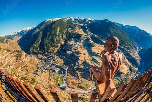 Fisheye view on the village of Canillo Andorra and its surroundings Canvas Print