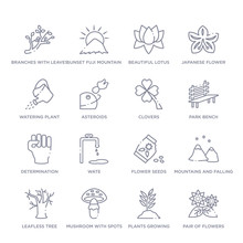 Set Of 16 Thin Linear Icons Such As Pair Of Flowers, Plants Growing, Mushroom With Spots, Leafless Tree, Mountains And Falling Snowflakes, Flower Seeds, Wate From Nature Collection On White
