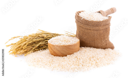 Slika na platnu Pile of white rice on white background