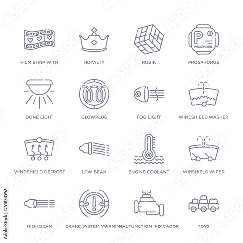 set of 16 thin linear icons such as toys, malfunction