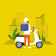 Food Delivery Service. Young I...