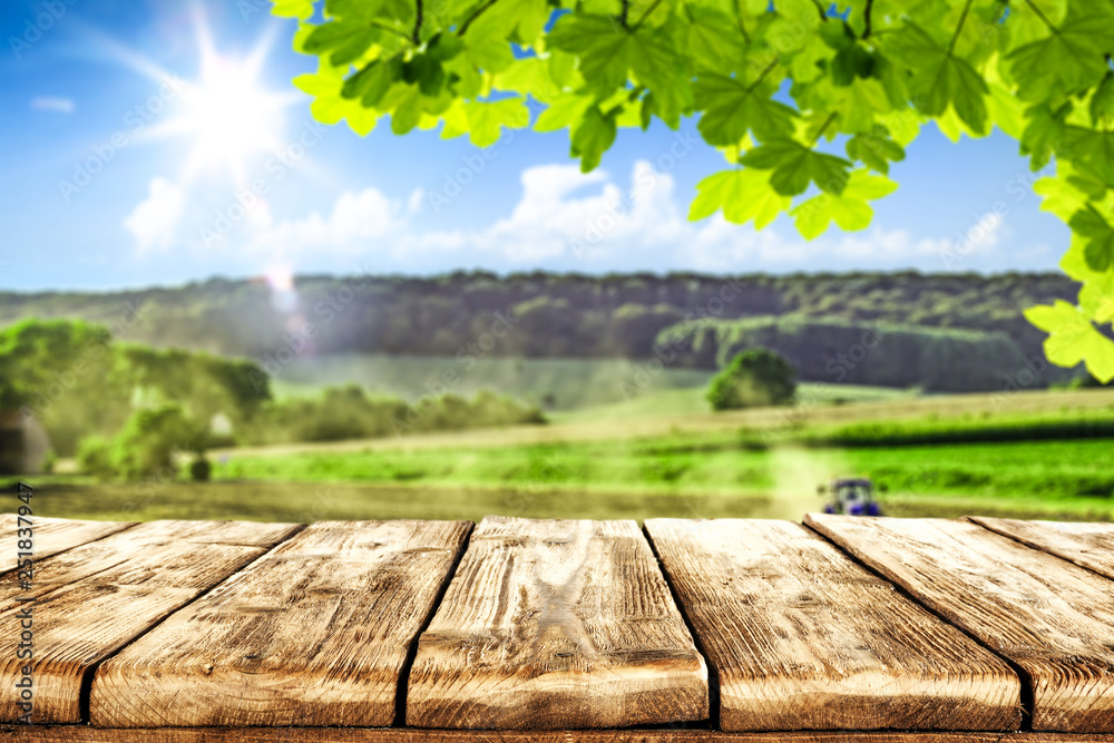 Obraz desk of free space and farm background.  fototapeta, plakat
