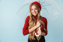 Portrait Of Cheerful Blond Woman 20s With Long Hair Standing Under Umbrella