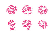 Vector Silhouettes Of Hand Drawn Peony Flowers Isolated On White Background Illustration