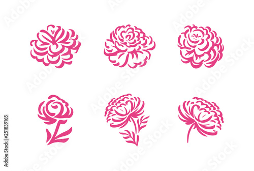 Stampa su Tela Vector silhouettes of hand drawn peony flowers isolated on white background illu