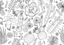 Cactus Seamless Pattern And Flowers. Cozy Cute Elements. Collection Of Tropical Succulents And Plants In Vintage Doodle Style. Engraved Hand Drawn Background For Wall Texture, Banner, Web Site, Cards.