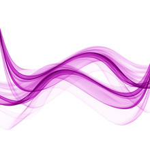 Abstract Waves Of Purple On A White Background