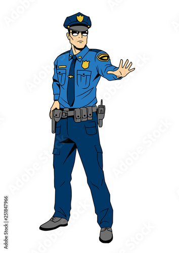 Police Officer Commands You To Stop Cartoon Character Color