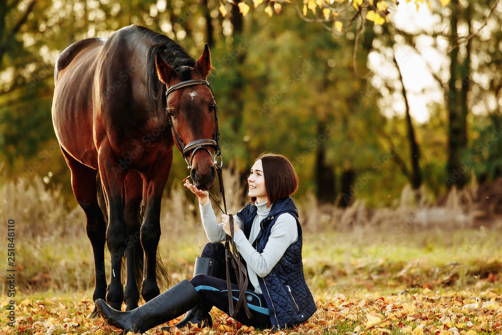 Fototapety, obrazy: Woman with her horse at sunset, autumn outdoors scene