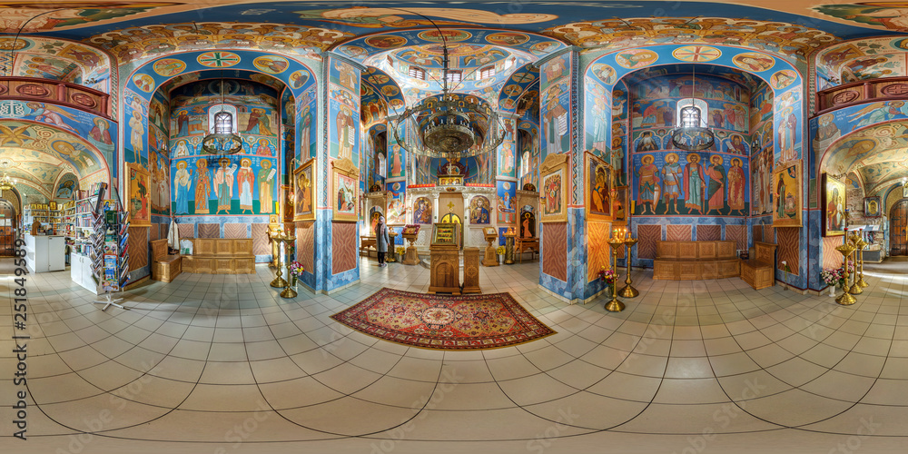 Fototapety, obrazy: VITEBSK, BELARUS - OCTOBER, 2018: Full seamless panorama 360 angle degrees view inside interior of awesome orthodox church with icons near altar in equirectangular spherical panorama. VR AR content