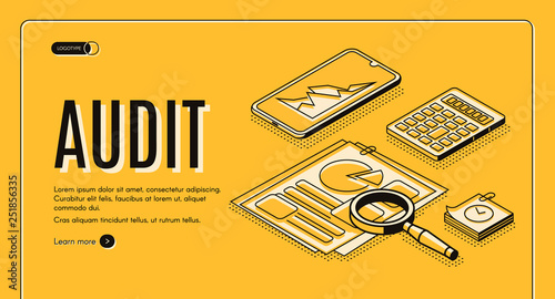 Financial audit online service isometric vector web banner, landing page Wallpaper Mural