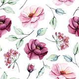 Fototapeta Kwiaty - Seamless background, floral pattern with watercolor flowers peonies, roses and leaves. Repeating fabric wallpaper print texture. Perfectly for wrapped paper, backdrop, frame or border.