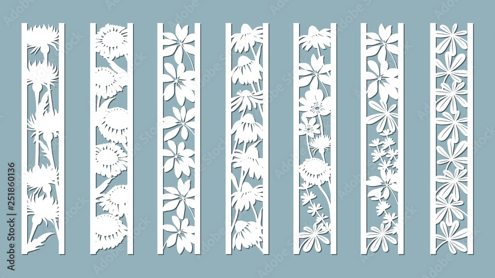 Fototapety, obrazy: Echinacea, chamomile, schefler, noble hepatica, zephyrantes, stokesia. Panels with floral pattern. Flowers and leaves. Laser cut. Set of bookmarks templates. Image for laser cutting, plotter cutting o