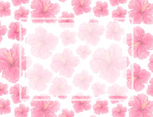 Watercolor Pink Flowers Blossoms Background. Wedding Card, Celebration, Invite Card Design