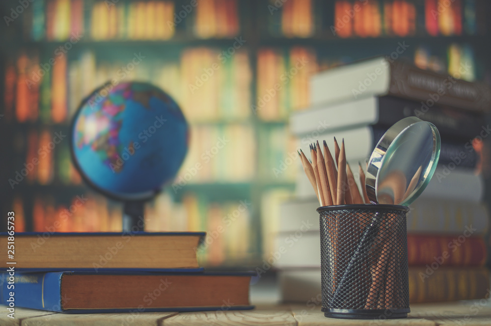 Fototapety, obrazy: Textbooks,  globe and pencils on a wooden background. Educational background