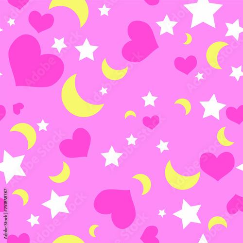 Fotografie, Obraz  Seamless Repeating Vector Pattern Hearts Stars Moon