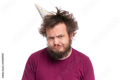 aae18767a73 Crazy bearded Man with funny Haircut in birthday cap