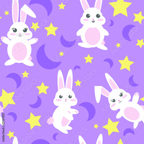 Fotografie, Obraz  Seamless Repeating Vector Bunnies with Moons and Stars