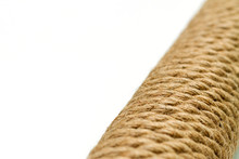 Macro Close-up Sisal Rope Cat Scratching Post On White Background, Selective Focus