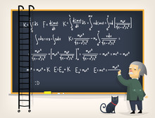 Vector Illustration With Scientific Physics Formulas, Research Equations And Figures, Handwritten With Chalk On A Grey Board.