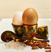Colorful Eggcups With Eggs, Sp...