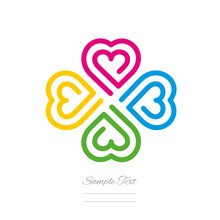Clover Modern Logo Line Design Four Color Hearts Icon Isolated White Background