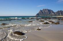 Uttakleiv Beach And The Mountains In Lofoten Islands In Norway