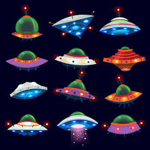 Set Of Colorful Alien Space Sh...